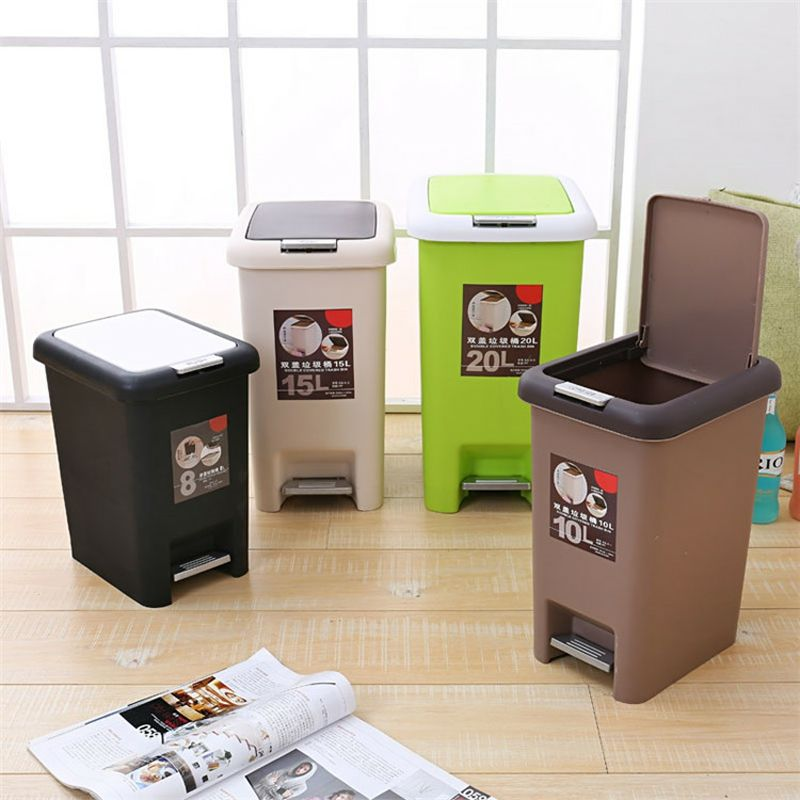 plastic household kitchen trash can